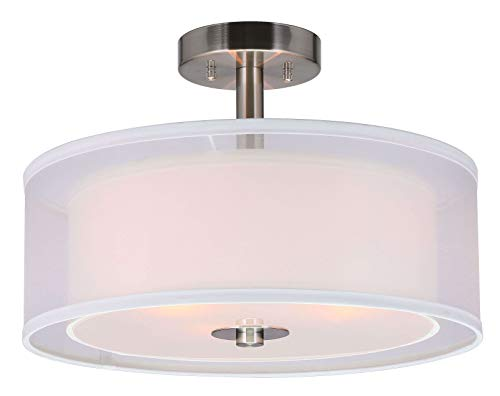 (XiNBEi Lighting Semi Flush Mount Ceiling Light, 3 Light Close to Ceiling Light with Fabric Shade, 16