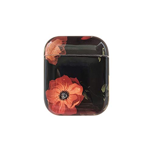 AirPods Case,Flower Rose Smooth Outside [No Dust] Shockproof Cover Case for Apple Airpods 2 &1,Kawaii Fun Cases for Girls Kids Teens Air pods (Rose/Black)
