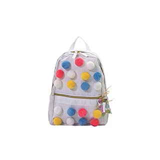 Palm Beach Crew Seersucker Backpack or Mini Seaside Sweets Collection, Mini White Bright Poms