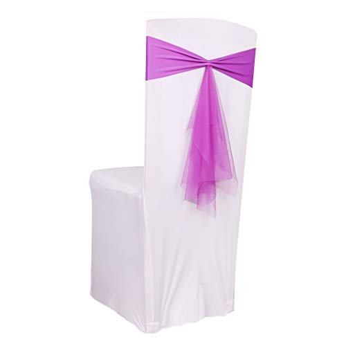 Fvstar 10pcs Purple Wedding Chair Cover Sashes Organza Party Chair Ribbons Bows for Bridal and Events Supplies Baby Shower Banquet Without White Covers ()