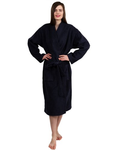 TowelSelections Women's Turkish Cotton Bathrobe Kimono Terry Robe Small/Medium Navy