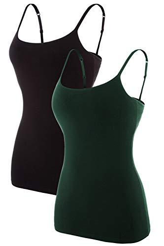 V FOR CITY Women Shelf Bra Camisoles Cotton Under Shirt Spaghetti Strap Pack L