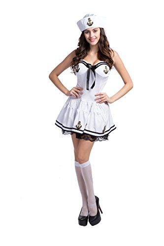 Honeystore Women's Adult Sailor Nautical Doll Halloween Costume White Style 1
