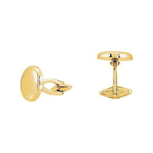 Men's 14k Yellow Gold 16mm Engravable Round Cuff Links 14k Gold Circle Cufflinks