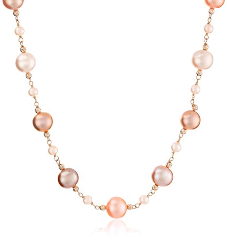 """14k Yellow Gold 4-4.5mm and 10-11mm Multi-Pink Freshwater Cultured Pearl with Yellow Gold Sparkling Beads Necklace, 18"""""""