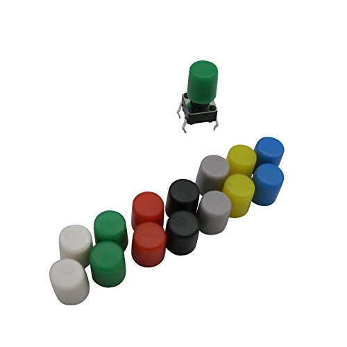 - Each color 20PCS Black white green red gray yellow blue 6x6mm Tactile Touch micro Push Button switch tact switch cap (140PCS )