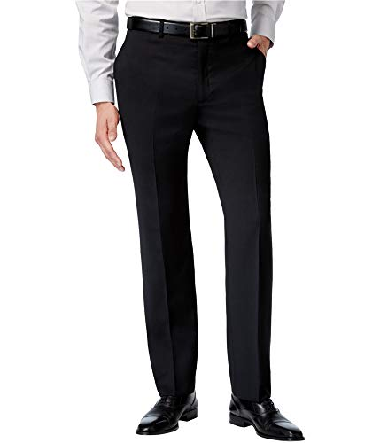 Tommy Hilfiger Mens Flat Front Trim Fit 100% Wool Suit Separate Pant, Black Solid, 30W x 30L ()