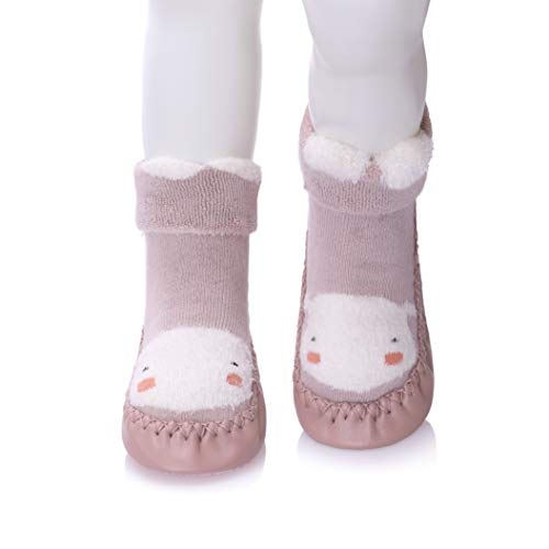 (FANZERO Baby Boys Girls Toddlers Cute Animal Slipper Shoe Socks Non-Skid Winter Warm Cotton Indoor Moccasins (L / 18-24 Months, Pink)