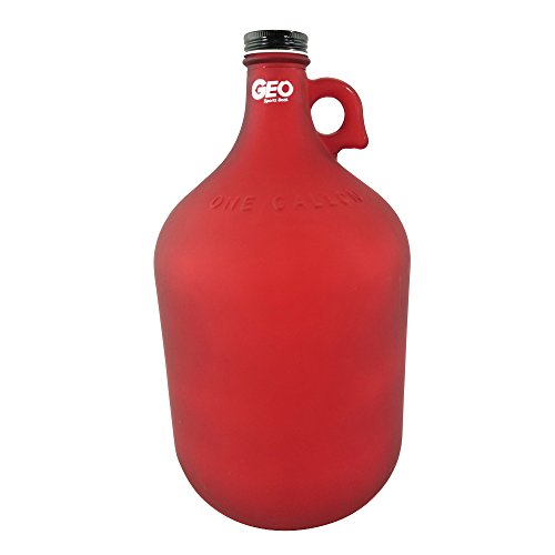1 Gallon Glass Jug Reusable Water Bottle Jug BPA Free With Cap and Finger Holder - Red - Dark Colors Are Best For Alkaline Water (128 Oz Jug)