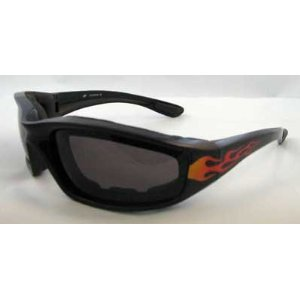 New Birdz Oriole Fire Flame Motorcycle Sunglasses Smoke Has Comfortable Foam Padding on the Entire Inside of the Glasses to Fit Snug to Your Face and Protect Against Wind and - Fit Sunglasses Face To Your