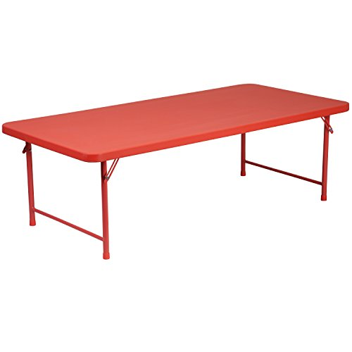 Flash Furniture 30''W x 60''L x 19''H Kid's Red Plastic Folding ()