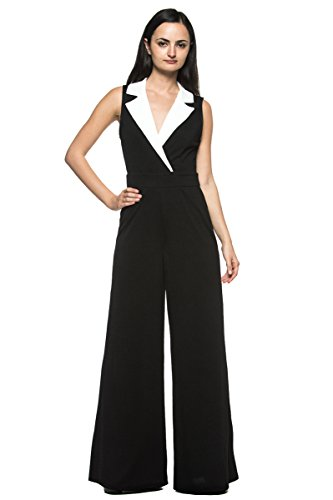 Women's Black White Tuxedo Collar Lapel V Neck Wide Leg Pant Suit Work Jumpsuit (Womens Tuxedo Trousers)