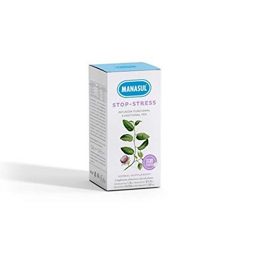 MANASUL - Infusion Relax de Hiperico, Pasiflora y Valeriana Combate la Ansiedad y Ayuda a Dormir Stop Stress Caja de 25 Bolsitas