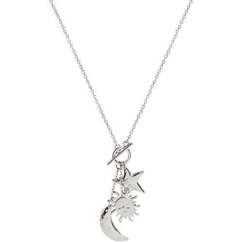Toggle Star - GIRLPROPS Sun, Moon, Star Necklace with Toggle, USA! Celestial, in Silver Tone