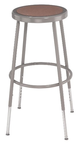 National Public Seating 6230H Grey Steel Stool with Hardboard Seat Adjustable, 31 -39