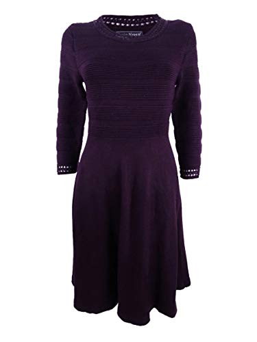 Jessica Howard Women's Crochet-Trim Fit & Flare Sweater Dress (XL, Aubergine)