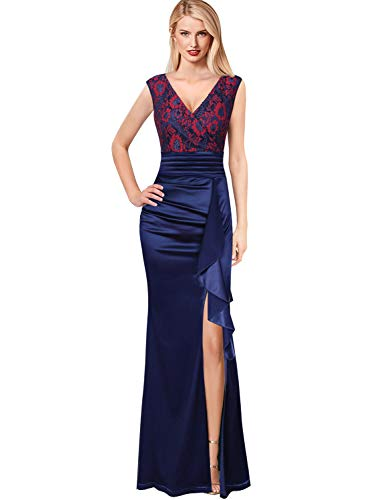 VFSHOW Womens V Neck Ruched Ruffles Formal Evening Wedding Party Maxi Dress 1963 BLU S