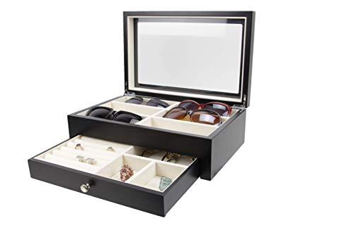 (Executive High Class Wood Watch, Sunglasses,Cufflink Case & Ring Storage Organizer Men's Jewelry Box Gift (Welcome))