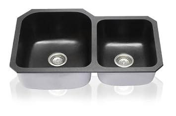 31-7//8 x 20-Inch Lenova Sinks Lenova NG-03 Granite Composite Double Bowl Under-Mount Sink