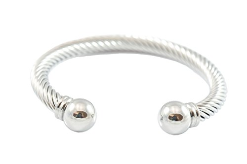 Adjustable Mens Twisted Cable Wire Golf Cuff Stainless Steel Bangle Bracelet Ball Ends Highly Polished (Silver Tone) (Tone Wire Cuff Silver)