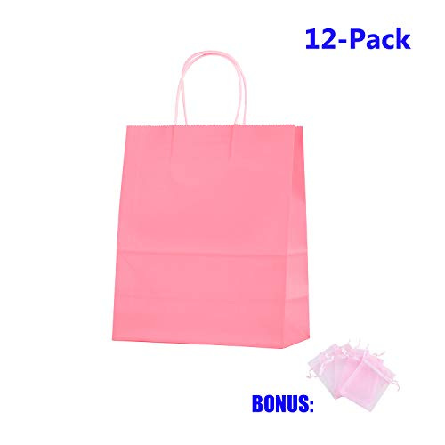 Anleolife 12 Small Kraft Paper Kids Gift Bags, Assorted Goody Tote Loot Set for Party Favor Supplies on Boys/Girls Birthday, Baby Showers, Retails Shopping Restaurant Takeout, Store Owner (Pink)]()