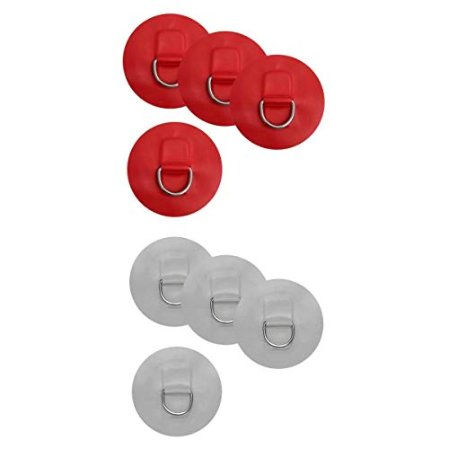 MagiDeal 8 Pieces D-Ring Pad Patch Inflatable Boat Raft Dinghy Kayak Red & Gray by Unknown