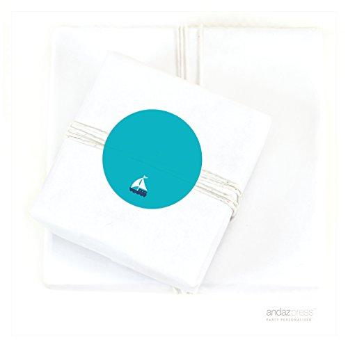 Andaz Press Sail Away Nautical Birthday Collection, Solid Aqua Sailboat Aqua Circle Gift Labels, 40-Pack