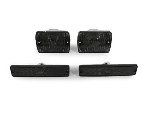 DEPO 1987-1993 Jeep Wrangler YJ Smoke Bumper Signal Lights + Side Marker Light Set