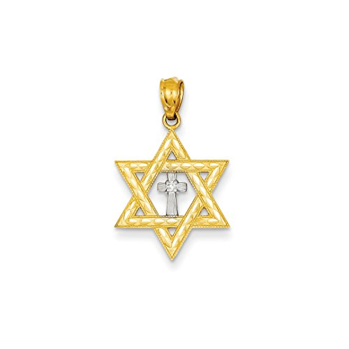 ICE CARATS 14k Yellow Gold Diamond Jewish Jewelry Star Of David Cross Religious Pendant Charm Necklace Judaica Fine Jewelry Ideal Mothers Day Gifts For Mom Women Gift Set From (Designer Star Of David Necklace)