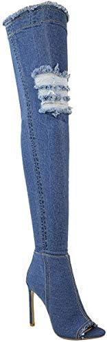 Fashion Thirsty Womens Over The Knee Boots Thigh High Heels Stilettos Stretch Denim Size