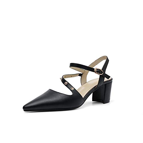 Women Sandals Cow Leather Square Middle Heel Slingback Pointed Toe,Black,4