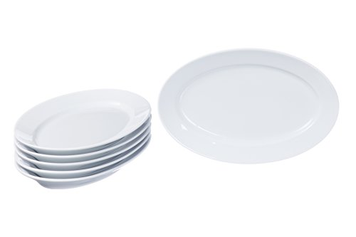 Oval Serving Platters, Serving Dishes, Serving Plates Set, Trays for Parties (3 size), Real Durable White Porcelain, Restaurant&Hotel Quality, 6 Pieces Set, 9.4'' x 6.2''