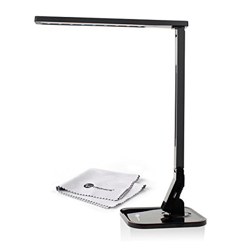 TaoTronics Elune TT-DL01 Dimmable LED Desk Lamp 5-Level Dimmer, Touch-Sensitive Control Panel, 1-Hour Auto Timer, 5V/1A USB Charging Port – Piano Black