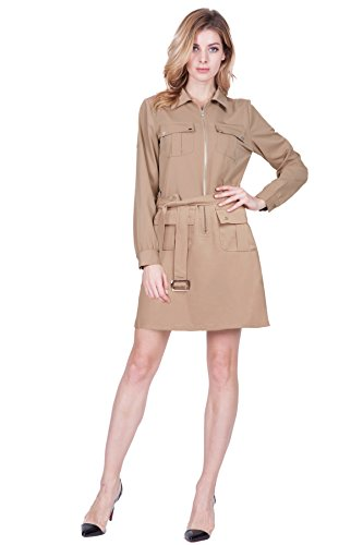 Women's Roll Up Sleeves Multi-Pocket Above Knee Shirt Dress With Belt