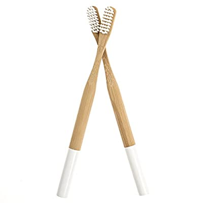 All Natural Bamboo Toothbrush with Medium Bristles - Biodegradable, Eco-Friendly - Round Handle with White Detail - Pack of 2