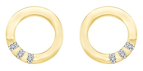 Mothers Day Jewelry Gifts White Natural Diamond Circle Halo Stud Earrings in 14k Yellow Gold Over Sterling ()