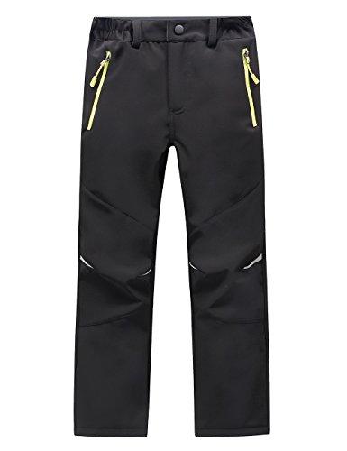 LANBAOSI Kids Boys Girls Waterproof Outdoor Hiking Pants Warm Fleece Lined Black (Sport Ski Pants)