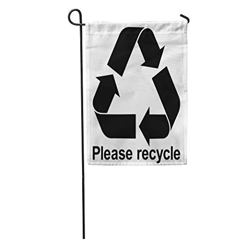 Semtomn Garden Flag Green Arrow Black Recycle Symbol Text Please Bio Care Circle Home Yard House Decor Barnner Outdoor Stand 28x40 Inches Flag