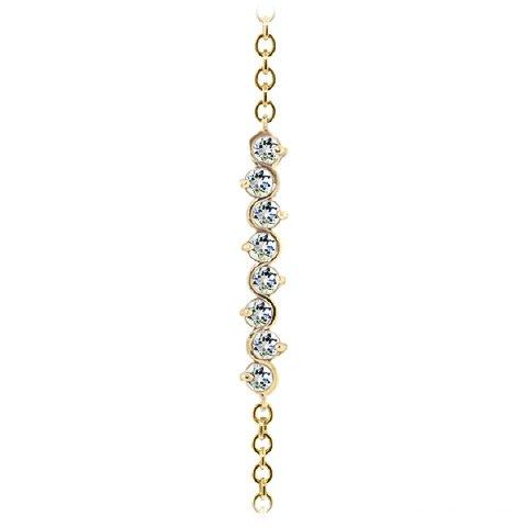 QP bijoutier aigues-marines naturelles pour femme Bracelet en or 9 carats, 1.55ct 5088Y-ronde