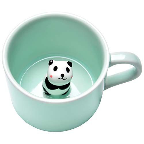 3D Cute Animal Coffee Mug, Miniature Animal Figurine Coffee Cup, Panda Inside, 250ml Funny Coffee Mug Novelty Gift for Office Birthday Men Women (Animal Coffee Cups)
