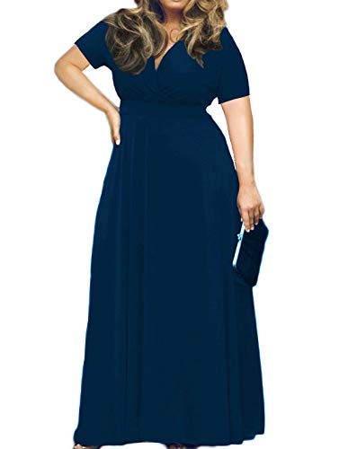 HWOKEFEIYU Women's Solid V-Neck Short Sleeve Plus Size Evening Party Maxi Dress(Navy Blue,XL) (Best Evening Dresses For Plus Size)