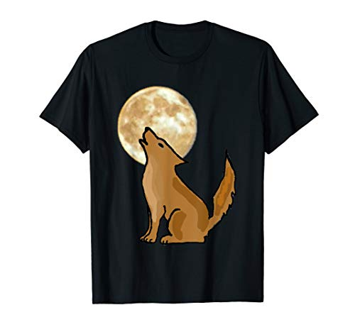 Smilemoretees Cool Coyote Howling at the Moon T-shirt (One Little Coyote Howling At The Moon)