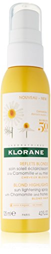 Klorane Sun Lightening Spray with Chamomile & Honey, Natural Controlled Highlights, Paraben, Hydrogen Peroxide, Ammonia, Sulfate Free, 4.2 - Blonde Hair Honey Spray