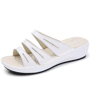 cb30c533a84 LvYuan Mujer Sandalias Confort Cuero Verano Otoño Diario Vestido  Casual Diario Confort Tacón Bajo Blanco