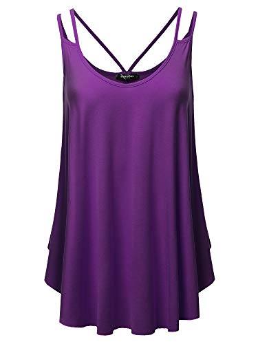 SSOULM Women's Double Strap Loose Fit Pleated Cami Tank Top Blouse with Plus Size Eggplant ()
