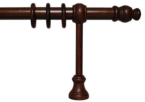Gardinenstange aus Holz mit 28 mm Durchmesser in Nußbaum, viele Größen, 300 cm mittig geteilt