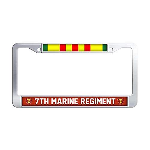(7th Marine Regiment Vietnam Veteran License Plate Frame,Stainless Steel Car License Plate Frame Holder)