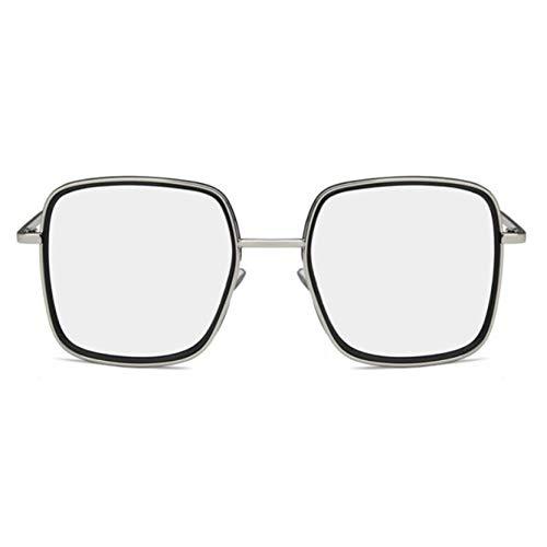 GAMT Oversized Sunglasses For Women Retro Square Female Eyeglasses Sliver Frame Sliver Lens