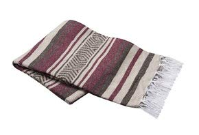 Vera Cruz - Mexican Yoga Blankets - 10-Pack - Wholesale Pricing - Made in Mexico (Burgundy/Brown/Tan)