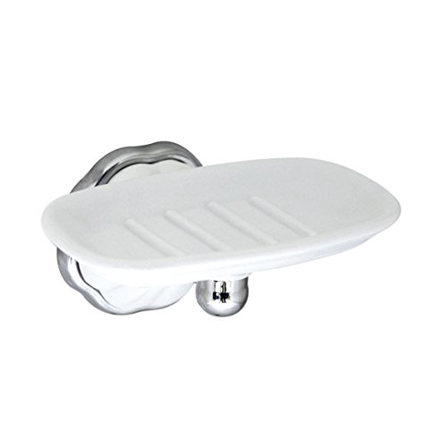 MODONA Porcelain Soap Dish - White Porcelain & Polished Chrome - Flora Series - 5 Year Warrantee (Holder Classic Traditional Soap)